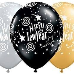 Swirl Happy New Year Balloons (pack 50)