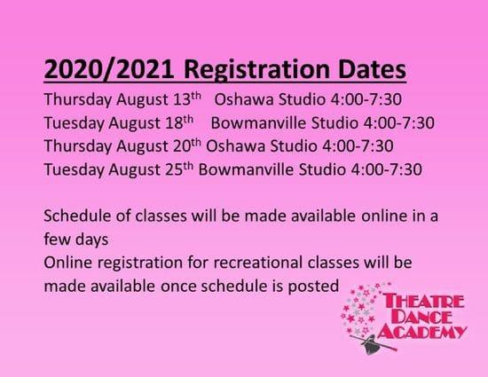 2020 -2021 Dance Registration