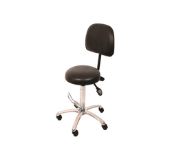 Medical Stool Foot Activated with Backrest and Hydraulic Lift