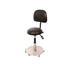 Medical Stool Foot Activated with Backrest and Gas Assist Weighted Base