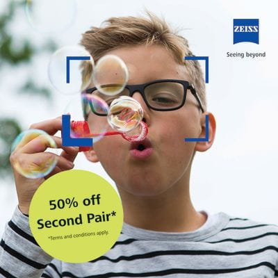 Any Zeiss lens purchase will entitle you to a second pair of lenses 50% off.