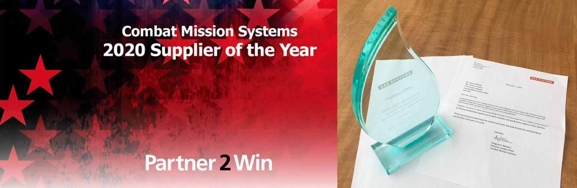 APV Combat Mission Systems 2020 supplier of the year