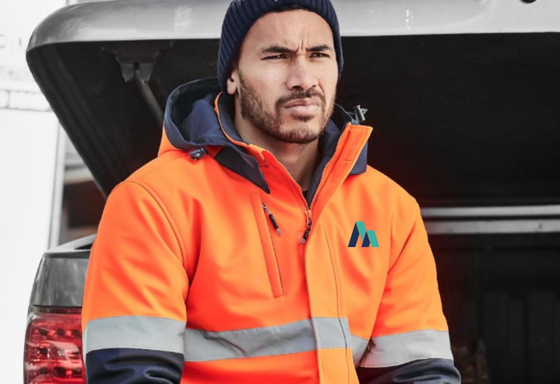 Man wearing custom-branded workwear
