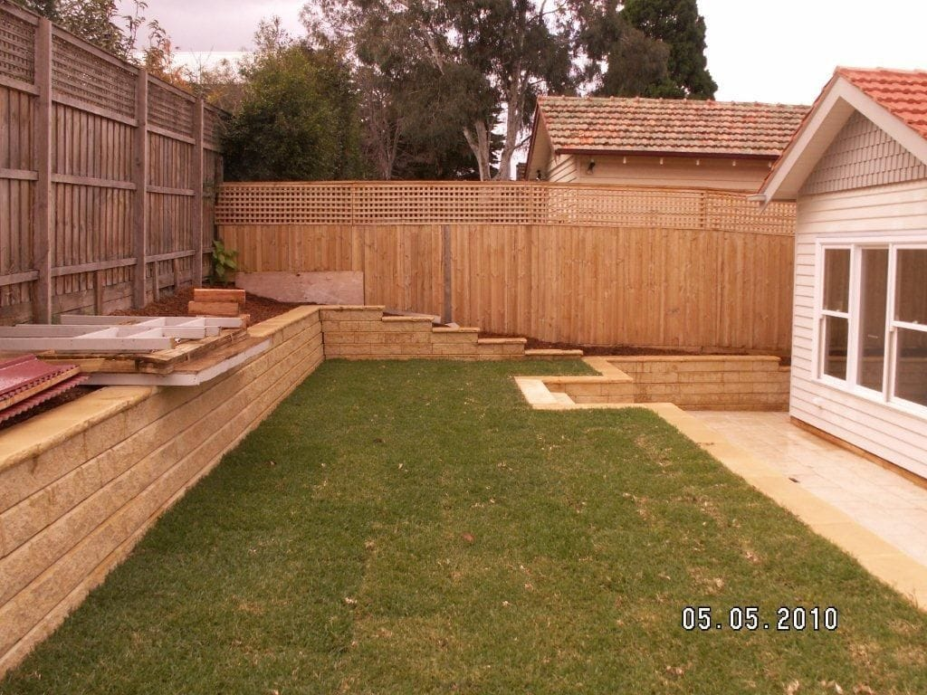 after installing retaining wall and paving