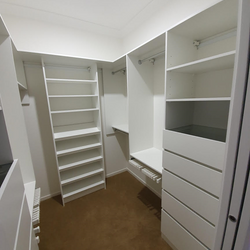 White WIR with 6mm toughened clear glass shelf on top of drawer units