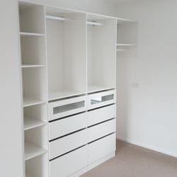 White WIR with Artia trouser racks and drawer fronts with clear glass inserts