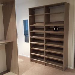 Polytec Rocco Lini Matt WIR, closed drawer with silver knob. Long hang & double hang. Sloping shoe racks with upstands
