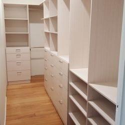 Full colour WIR using Polytec Soft Walnut Matt MR MDF. Drawers , hanging space and flat shoe shelves