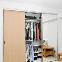 Build in robe using White HMR Melamine with double hang and shelving
