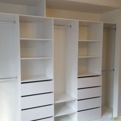 BIR using White HMR Melamine with double and 3/4 hang, open drawer fronts and shelving