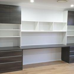 """Study desk for child's bedroom using White HMR Melamine & Polytec """"Char oak matt"""". 33mm post form desk top"""