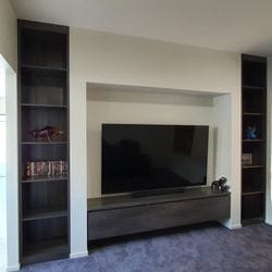 "TV unit & side display shelving using Polytec ""Char Oak Matt"" MR MDF."