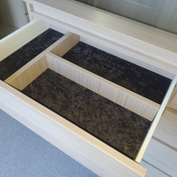 Black velour lined drawer with dividers