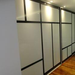 "Frame Less sliding doors. Polytec ""Black Wenge Matt"" MR MDF border & opaque white glass inserts. Dias Satin silver top & bottom tracks & 2mm trims"