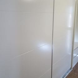 1 set of 2 fully framed sliding doors. 2 pack painted with pencil line profile. Dias Chrome trims & tracks