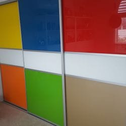 1 set of 3 fully framed divider sliding doors. Combination of 6mm painted glass insets. Dias Satin silver trims & tracks