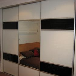 1 set of 3 fully framed divider doors. Combination of black glass, white glass & silver mirror glass inserts. Dias Satin silver trims, dividers, top & bottom tracks