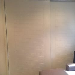 "1 set of 2 frame less ""Downey"" profile panel sliding doors. 2 pack painted finish. Dias Satin silver 2mm trims & tracks"