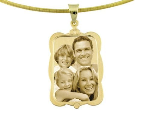 Main Image Designer Rectangle Gold Pendant