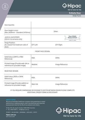EnSuite Door Order Form