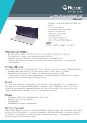 Gel Arm and Leg Toboggan Pad Datasheet