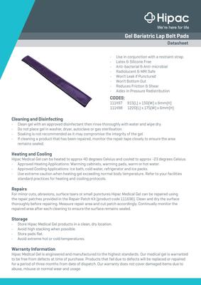 Gel Bariatric Lap Belt Pads Datasheets