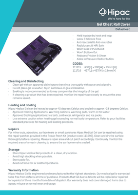 Gel Chest Roll Cover Datasheet