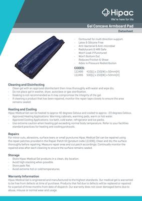 Gel Concave Armboard Pad Datasheet