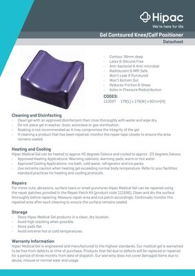 Gel Contoured Knee/Calf Positioner Datasheet
