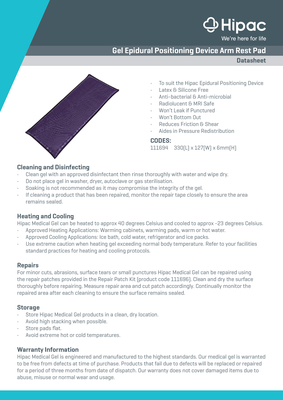 Gel Epidural Positioning Device Arm Rest Pad Datasheet
