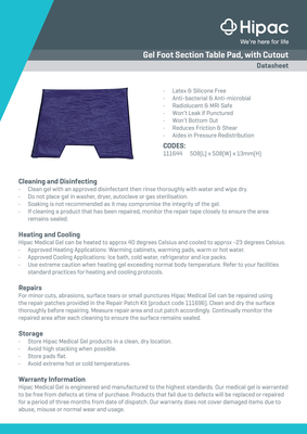 Gel Foot Section with Cutout Datasheet