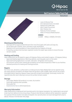 Gel Fracture Table Foot Pad Datasheet
