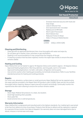 Gel Hand Protector Datasheet