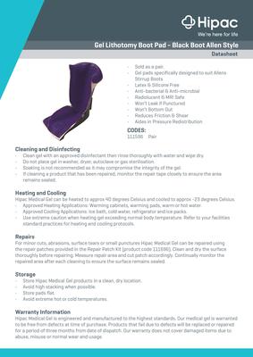 Gel Lithotomy Boot Pad Datasheet