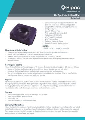 Gel Ophthalmic Head Section Pad Datasheet