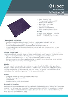 Gel Paediatric Pad Datasheet