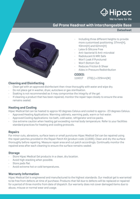 Gel Prone Headrest Datasheet