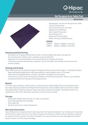 Gel Surgical Arm Table Pad with Datasheet