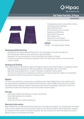 Gel Table Pad 3 Piece Datasheet