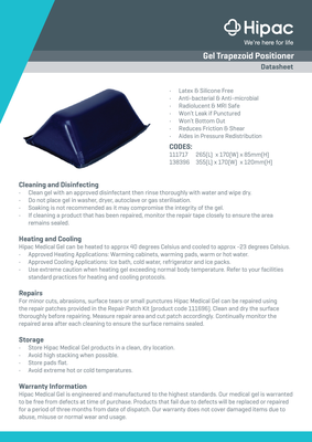 Gel Trapezoid Positioner Datasheet