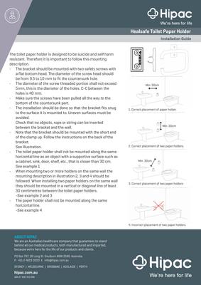 Healsafe Toilet Paper Holder Datasheet