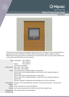 IVision Privacy Vision Panel Datasheets