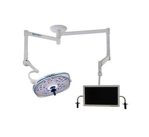 Single, Variable-Focus 24 Inch LED Surgical Lighting Fixture with Monitor Arm