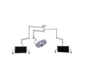 Single, Variable-Focus 24 Inch LED Surgical Lighting Fixture with Dual Monitor Arms