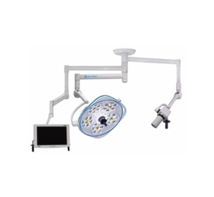 Single, Variable-Focus 24 Inch LED Surgical Lighting Fixture with Camera Arm & Monitor Arm