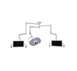Single, Variable-Focus 30 Inch LED Surgical Lighting Fixture with Dual Monitor Arms