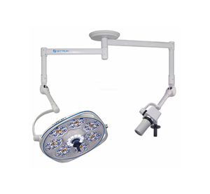 Single, Variable-Focus 24 Inch LED Surgical Lighting Fixture with Camera Arm