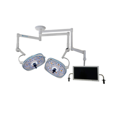 Dual, Variable-Focus 24 Inch LED Surgical Lighting Fixture with Monitor Arm