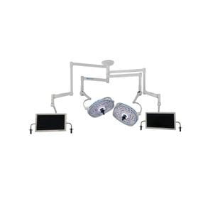 Dual, Variable-Focus 24 Inch LED Surgical Lighting Fixture with Dual Monitor Arms