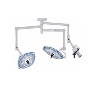 Dual, Variable-Focus 24 Inch LED Surgical Lighting Fixture with Camera Arm